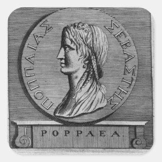 Poppaea Sabina, gravant après un romain Autocollant Carré