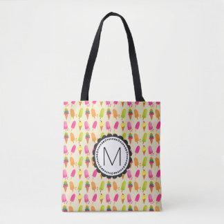 Popsicles et monogramme personnalisé de crème sac