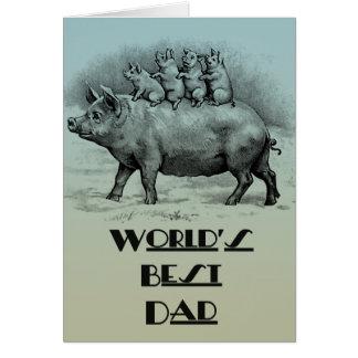 Porc avec la fête des pères de porcelets carte de vœux