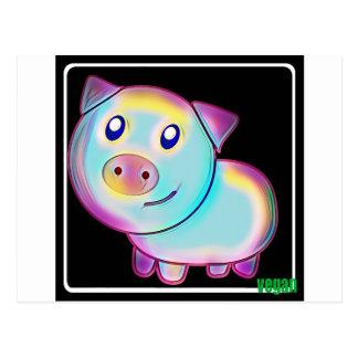 Porc coloré par végétalien carte postale