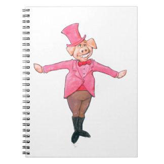 Porc dans un casquette supérieur carnet