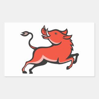 Porc de balénoptère sauvage de porc autocollant rectangulaire