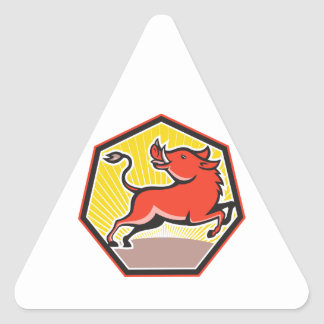 Porc de balénoptère sauvage de porc autocollant en triangle
