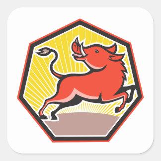 Porc de balénoptère sauvage de porc sticker carré