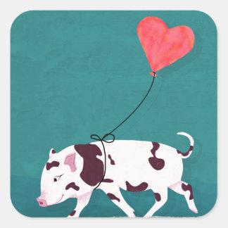 Porc de bébé avec le ballon de coeur sticker carré
