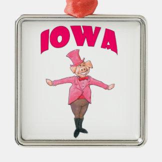 Porc de l'Iowa Ornement Carré Argenté