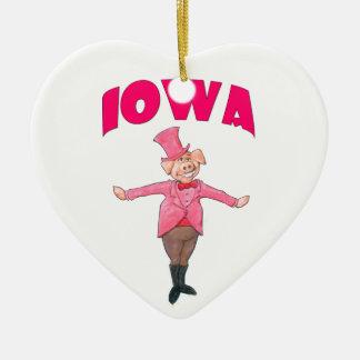 Porc de l'Iowa Ornement Cœur En Céramique