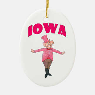 Porc de l'Iowa Ornement Ovale En Céramique