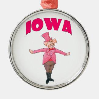 Porc de l'Iowa Ornement Rond Argenté