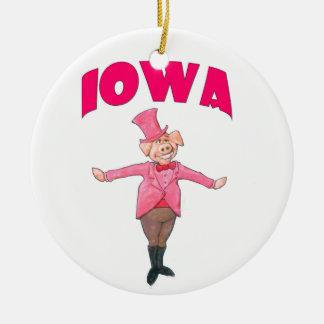 Porc de l'Iowa Ornement Rond En Céramique