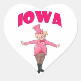 Porc de l'Iowa Sticker Cœur