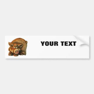 """Porc de sourire votre texte """"folio extra autocollant de voiture"""
