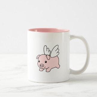 Porc de vol - porcelet avec des ailes tasse 2 couleurs