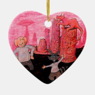 Porc et raton laveur sur Mars Ornement Cœur En Céramique