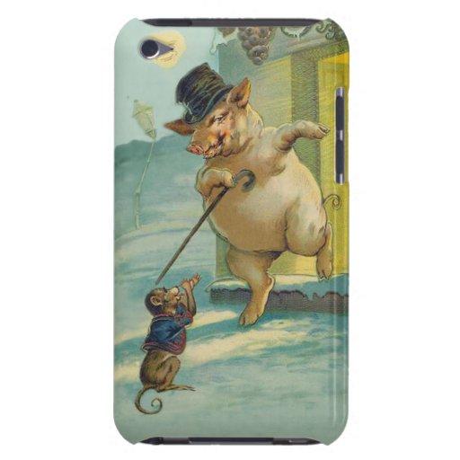 Porc et singe vintages mignons - animaux drôles coques iPod Case-Mate