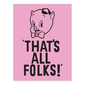 """Porc gros classique """"qui est tous les gens ! """" carte postale"""
