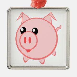 Porc heureux de bande dessinée ornement carré argenté