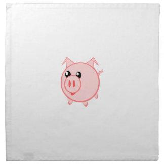 Porc heureux de bande dessinée serviette en tissu