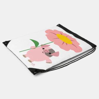 Porc mignon de bande dessinée avec le sac de sac avec cordons