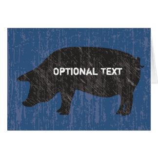 Porc noir rustique cartes de vœux