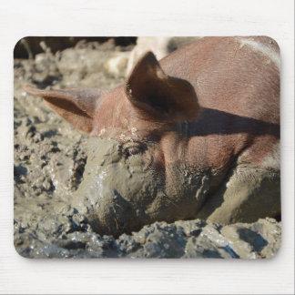 Porc prenant Bath de boue Tapis De Souris
