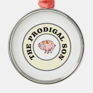 porc prodigue ornement rond argenté