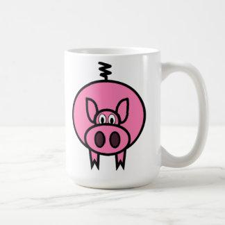 Porc rose de bande dessinée mug