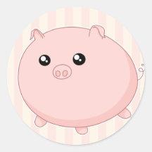Porc rose potelé mignon de Kawaii Autocollant Rond