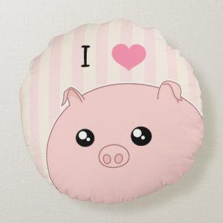 Porc rose potelé mignon de Kawaii Coussin Rond