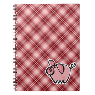 Porc rouge de plaid carnet