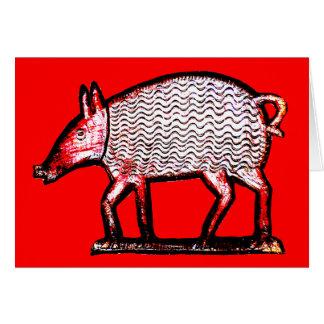 Porc rouge et noir - primitif/conception d'art carte de vœux