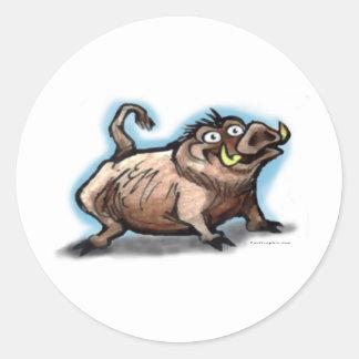 Porc sauvage sticker rond
