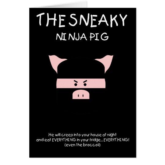 Porc sournois de Ninja Carte De Vœux