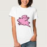 Porc très mignon de rose de vol t-shirts