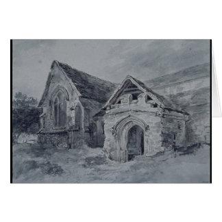 Porche et transept d'une église, c.1850-11 carte de vœux
