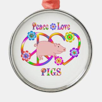Porcs d'amour de paix ornement rond argenté