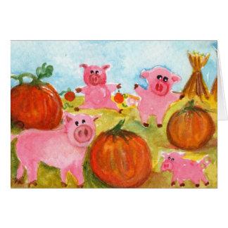 Porcs dans la correction de citrouille carte de vœux