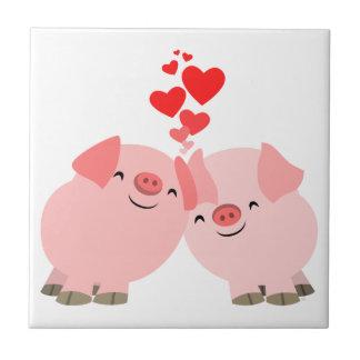Porcs mignons de bande dessinée dans la tuile d'am petit carreau carré