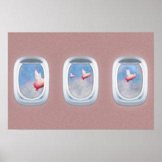 Porcs volant après des fenêtres d'avion poster