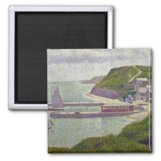 Port à Port-en-Bessin à la marée haute, 1888 Magnet Carré