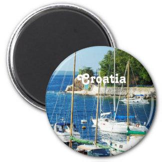 Port en Croatie Magnet Rond 8 Cm