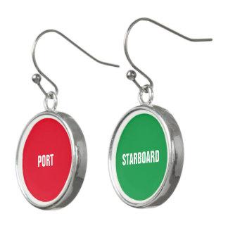 Port rouge et tribord vert boucles d'oreilles
