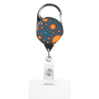 Porte-badge Bulles oranges. Modèle abstrait