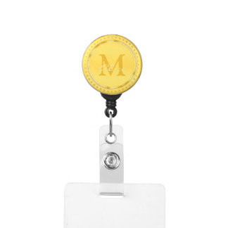 Porte-badge Monogramme d'or adorable