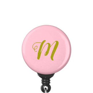 Porte-badge Rose et support d'insigne minimaliste d'or