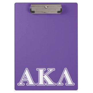 Porte-bloc Alpha lettres noires du Kappa lambda