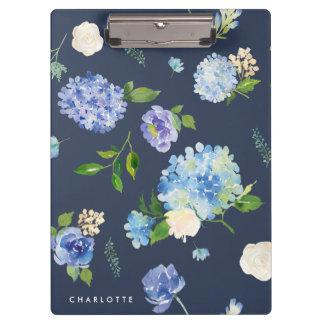 Porte-bloc Aquarelle bleue et hortensias pourpres
