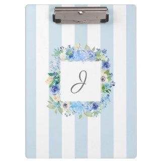 Porte-bloc Aquarelle bleue florale et rayures avec le
