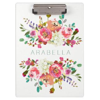 Porte-bloc Belle aquarelle florale avec votre nom