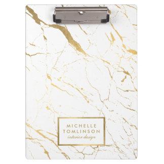 Porte-bloc Blanc et concepteur de marbre d'or personnalisé